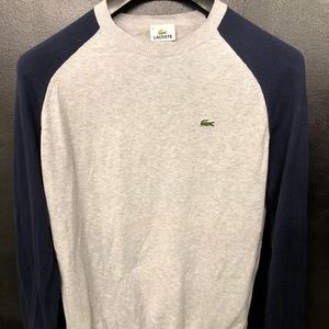 Lacoste Grey and navy crew neck sweater